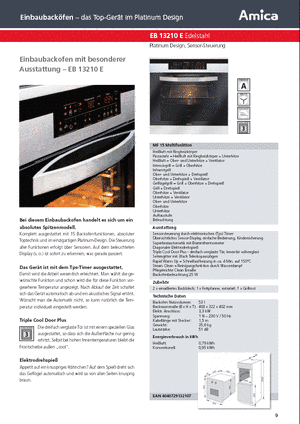 Amica product catalog for built-in kitchen appliances