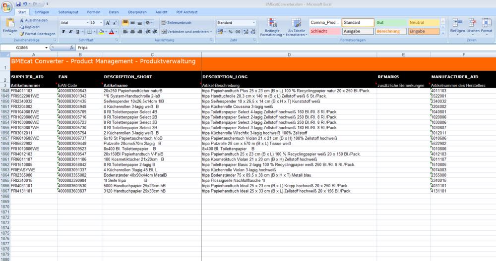 OpenSource BMEcat Converter :: Sepia :: Product Information