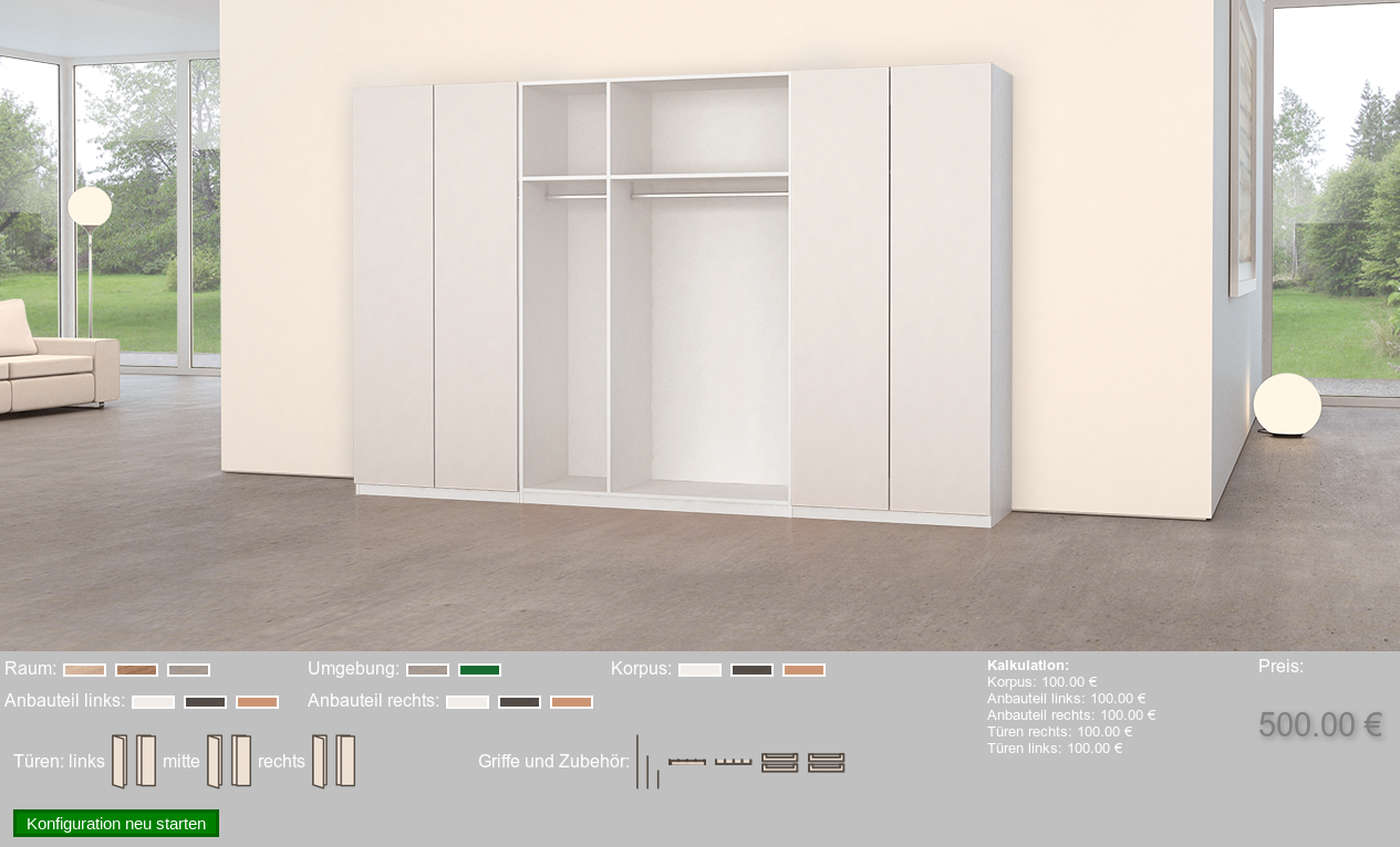 3D Product Configurator for Furnitures - Selection of a Color Varian