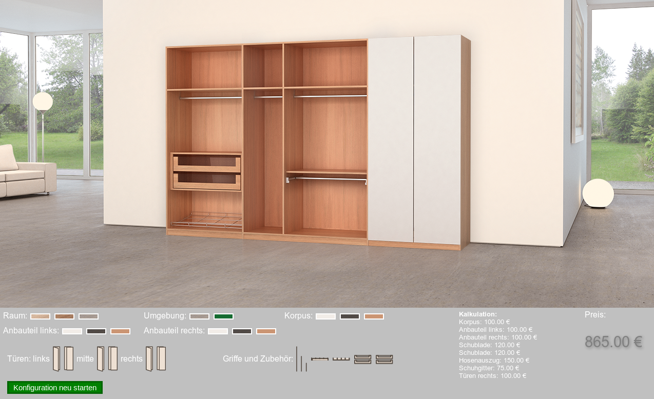 3D Product Configurator for Furnitures - Selection of Drawers and other Components