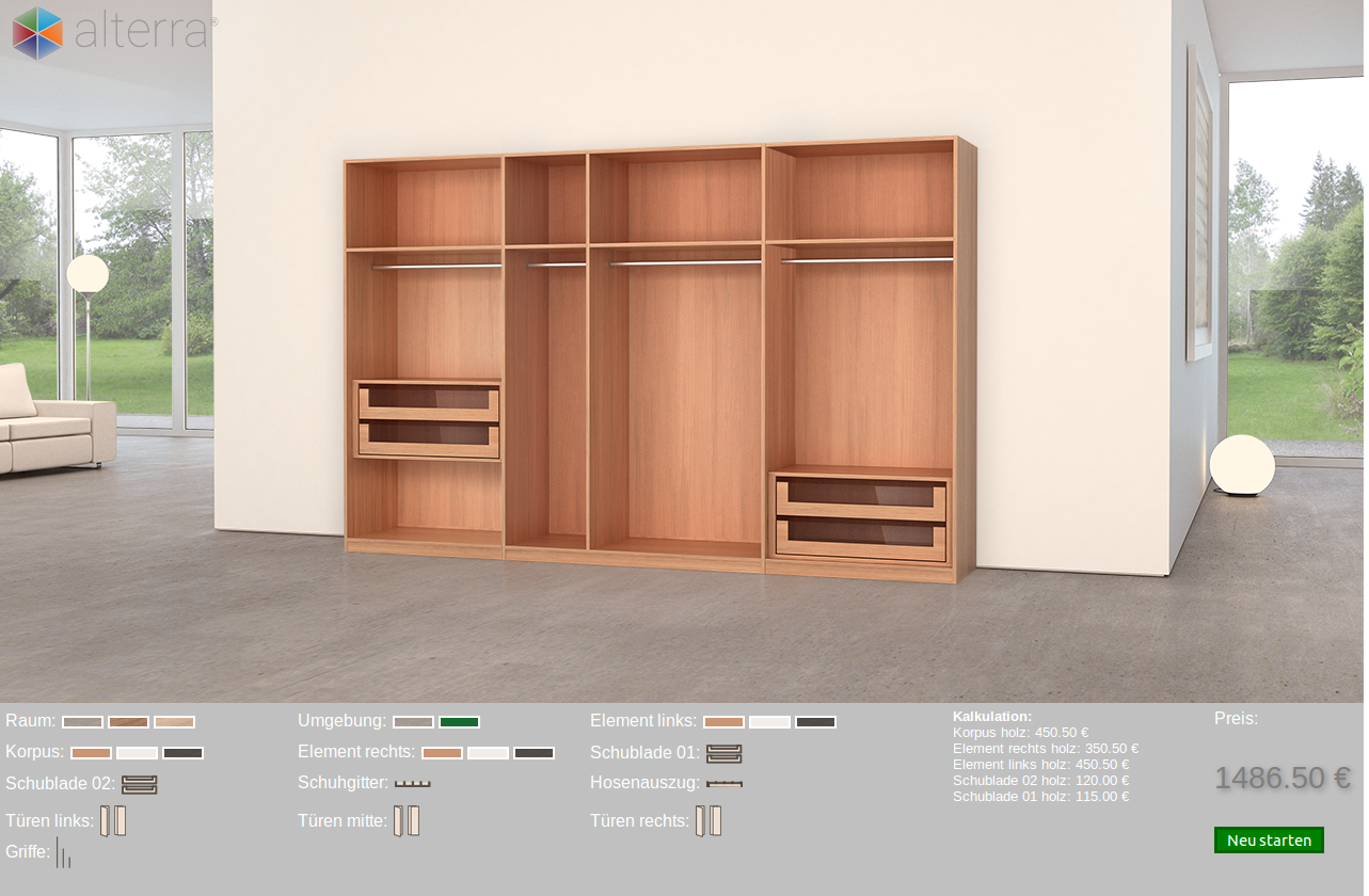 Product Configuration of furniture with price calculation