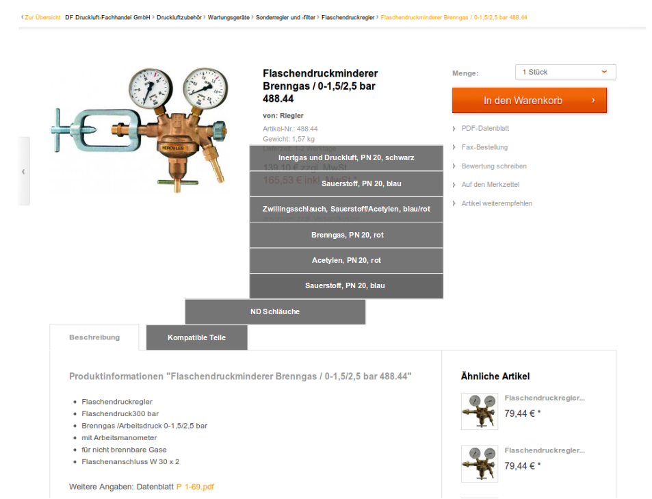Produktkonfigurator for Accessories in a Pneumatic Webshop
