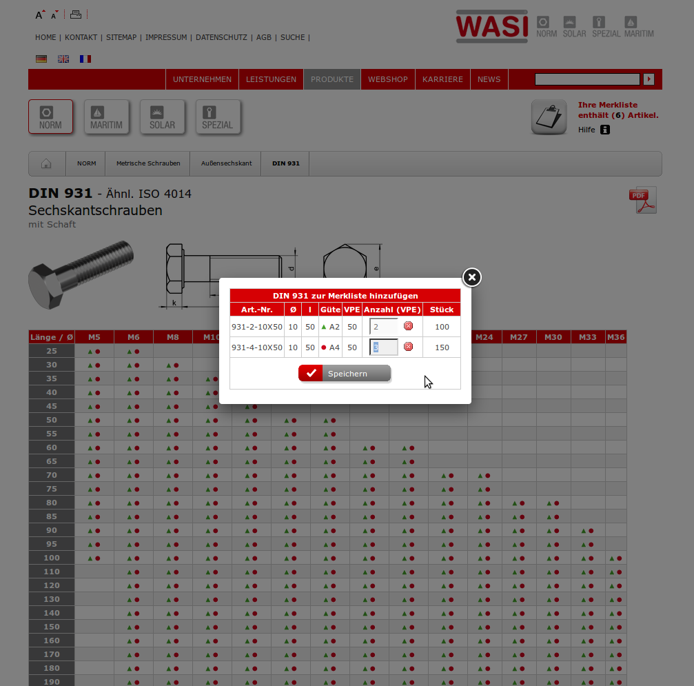 The WASI Web catalog for standards parts with ordering function from cross tabs.