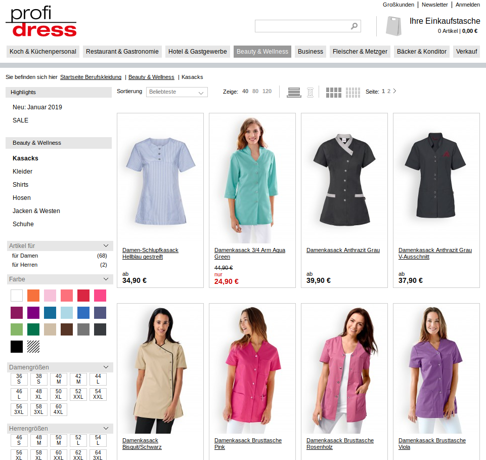 Profidress.de with product data from Alterra PIM