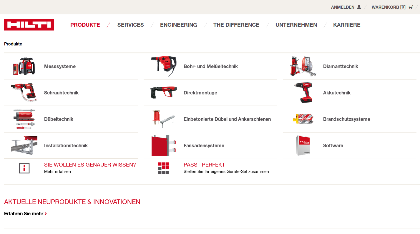 Example for eCommerce with Spryker: the Hilti website