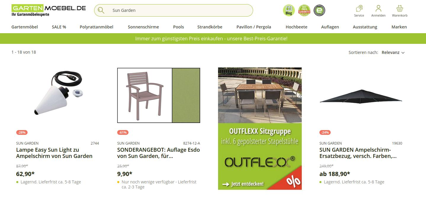 SUN GARDEN Produkte im Online-Handel - hier Gartenmoebel.de