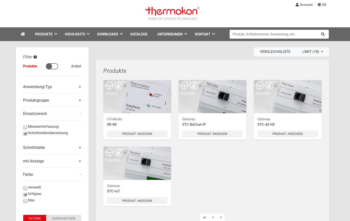 Thermokon Direct Produktsuche: superschnelle Suche über alle technischen Details der Thermokon-Produkte