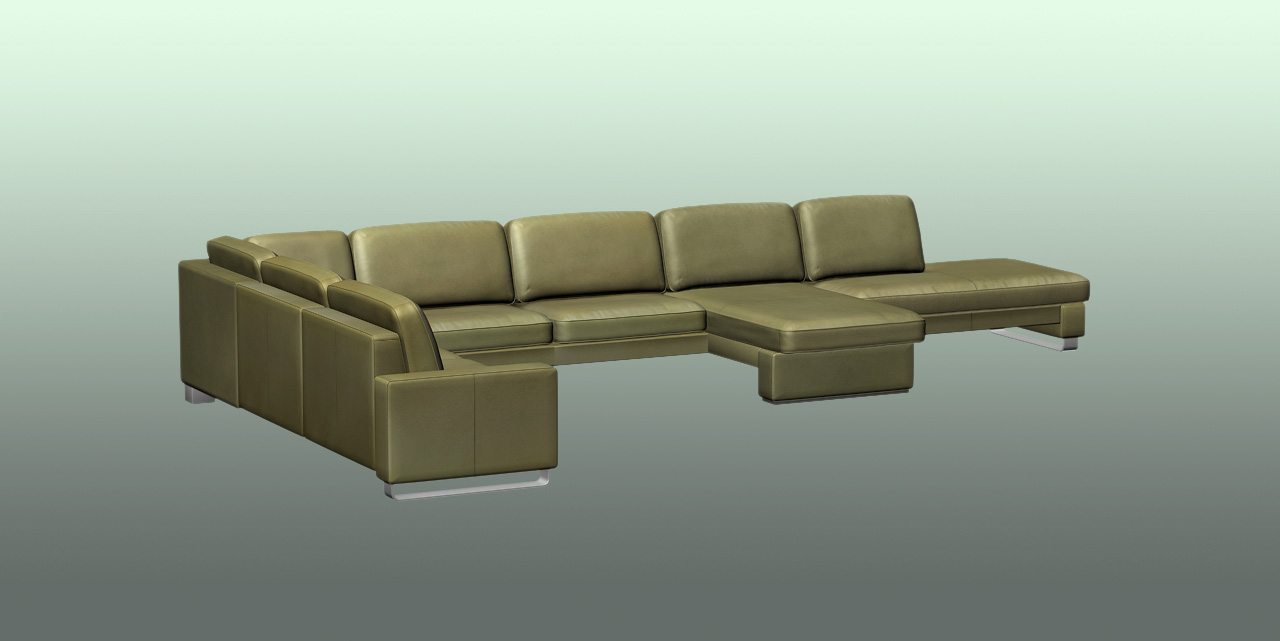 Rendered picture Sofa, green leather