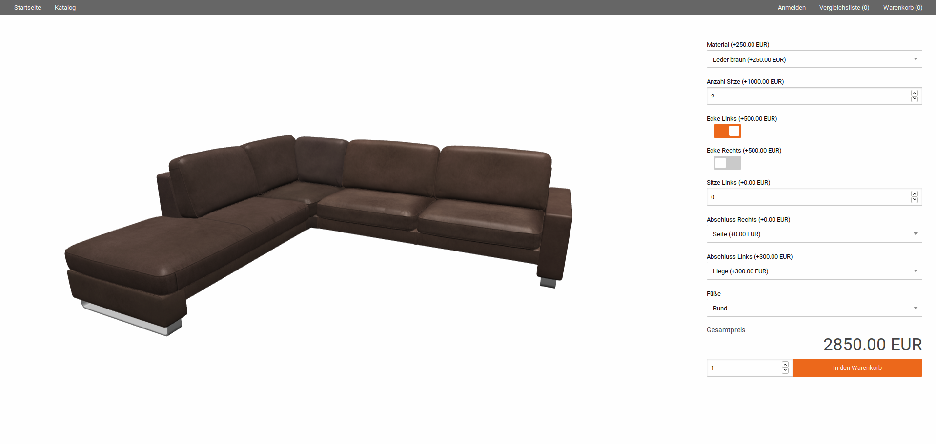 Implementation of the product configuration for the Lipari sofa considering element overview III