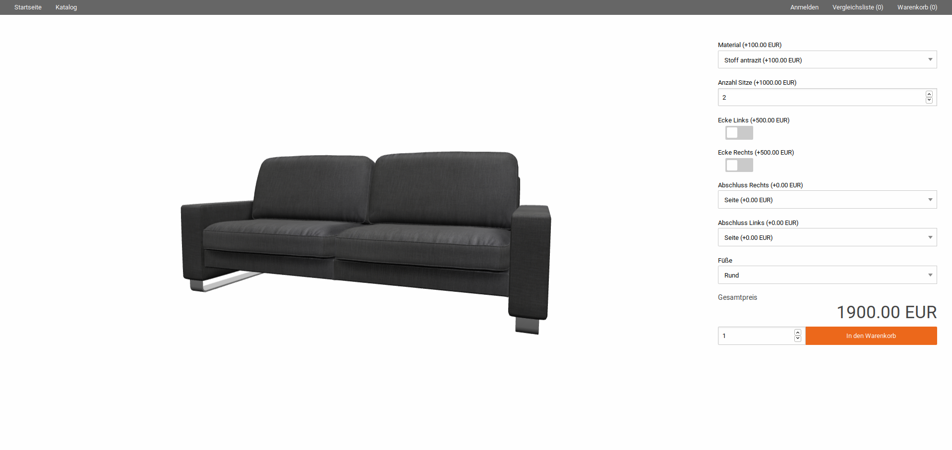 Implementation of the product configuration for the Lipari sofa considering element overview I