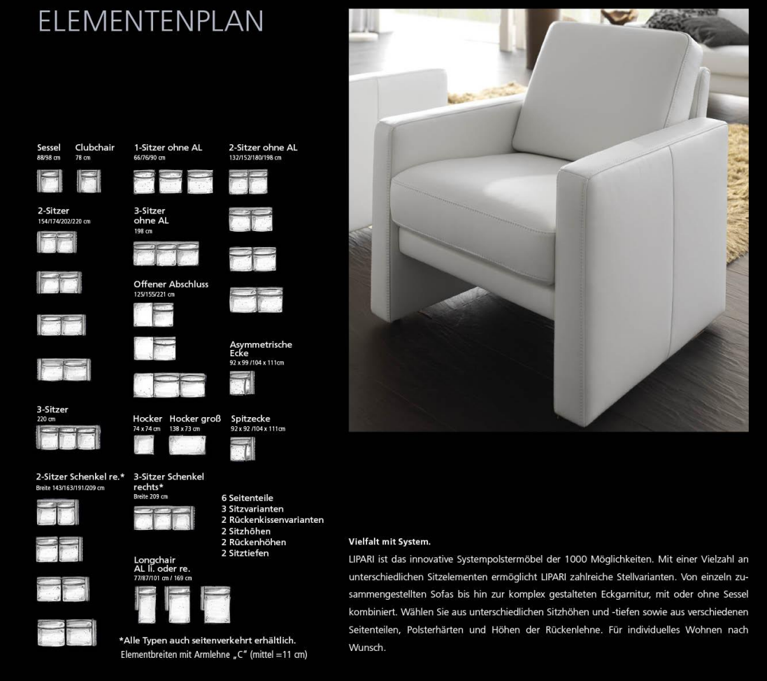 Overview of available elements for the Lipari sofa system by Segmüller