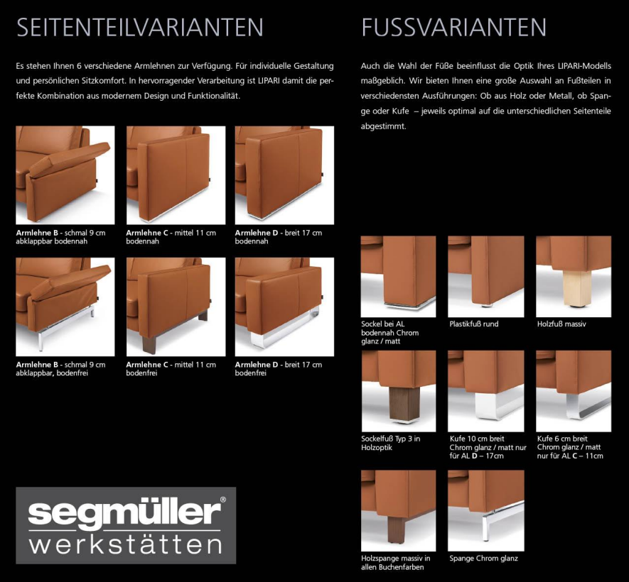 Side element and foot variants of the Lipari sofa by Segmüller